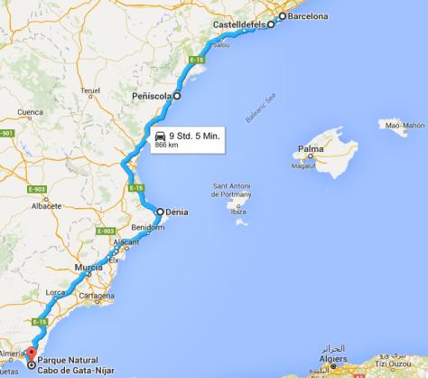 Von Barcelona nach Cabo de Gata