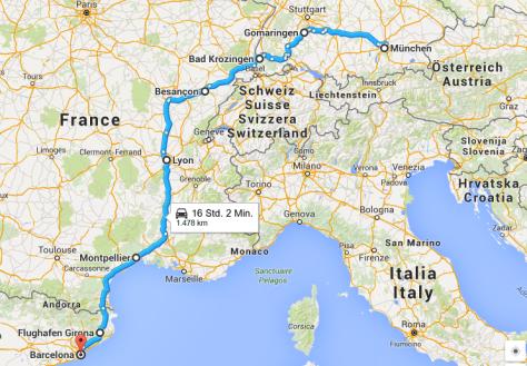 Von München nach Barcelona