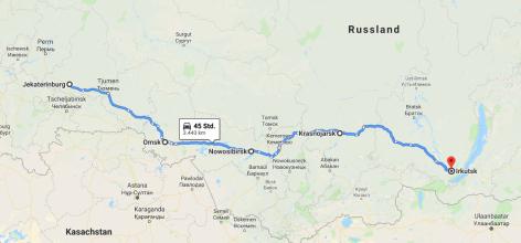 Karte bis Irkutsk