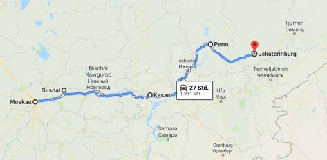 Karte bis Ural